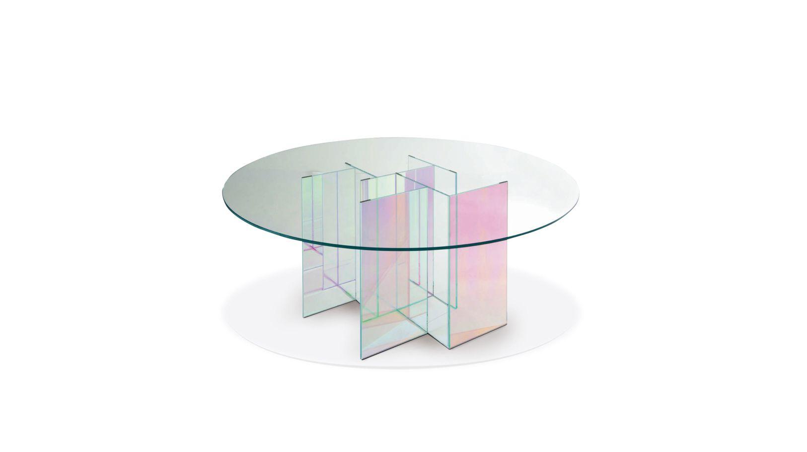 Diapo dining table roche bobois for Table basse verre roche bobois