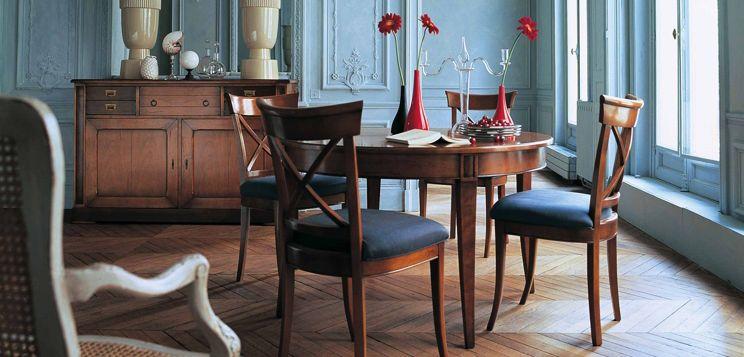 hauteville table de repas ronde collection nouveaux classiques roche bobois. Black Bedroom Furniture Sets. Home Design Ideas