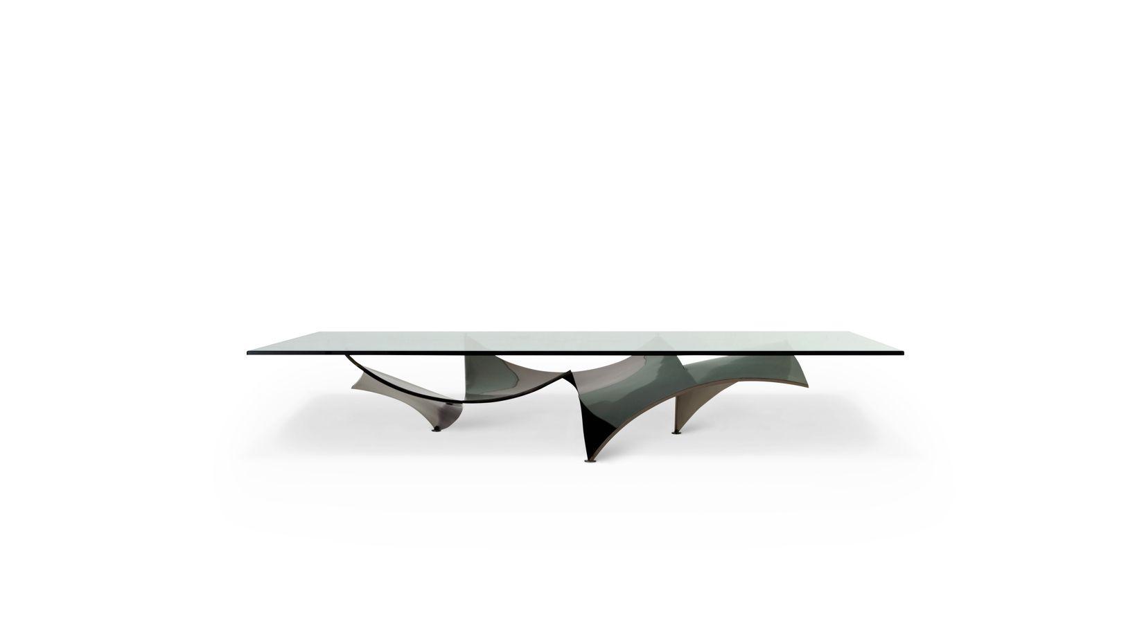 Voiles dining table roche bobois for Table basse verre roche bobois