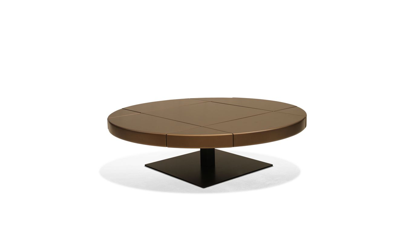 table basse ronde 2 c t s ouvrables ltb roche bobois. Black Bedroom Furniture Sets. Home Design Ideas