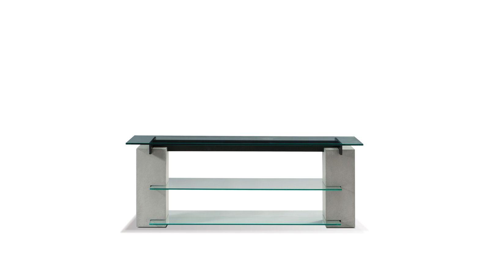 Table basse carr e t n r roche bobois for Meuble tele en verre design