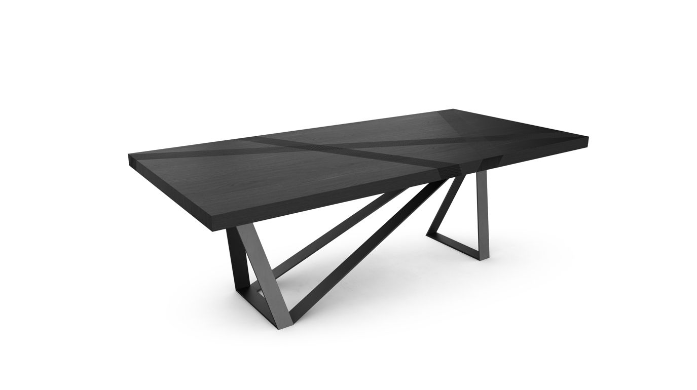 Track dining table roche bobois for Table ardoise roche bobois