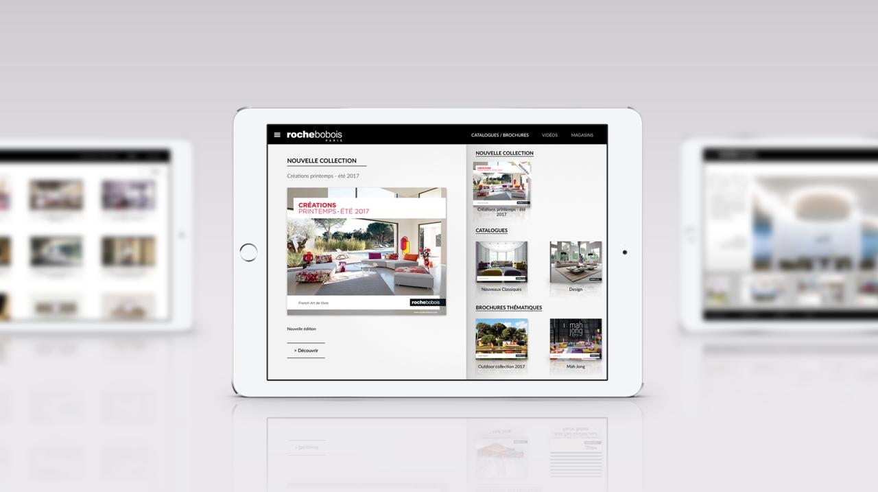 application ipad catalogues roche bobois roche bobois. Black Bedroom Furniture Sets. Home Design Ideas