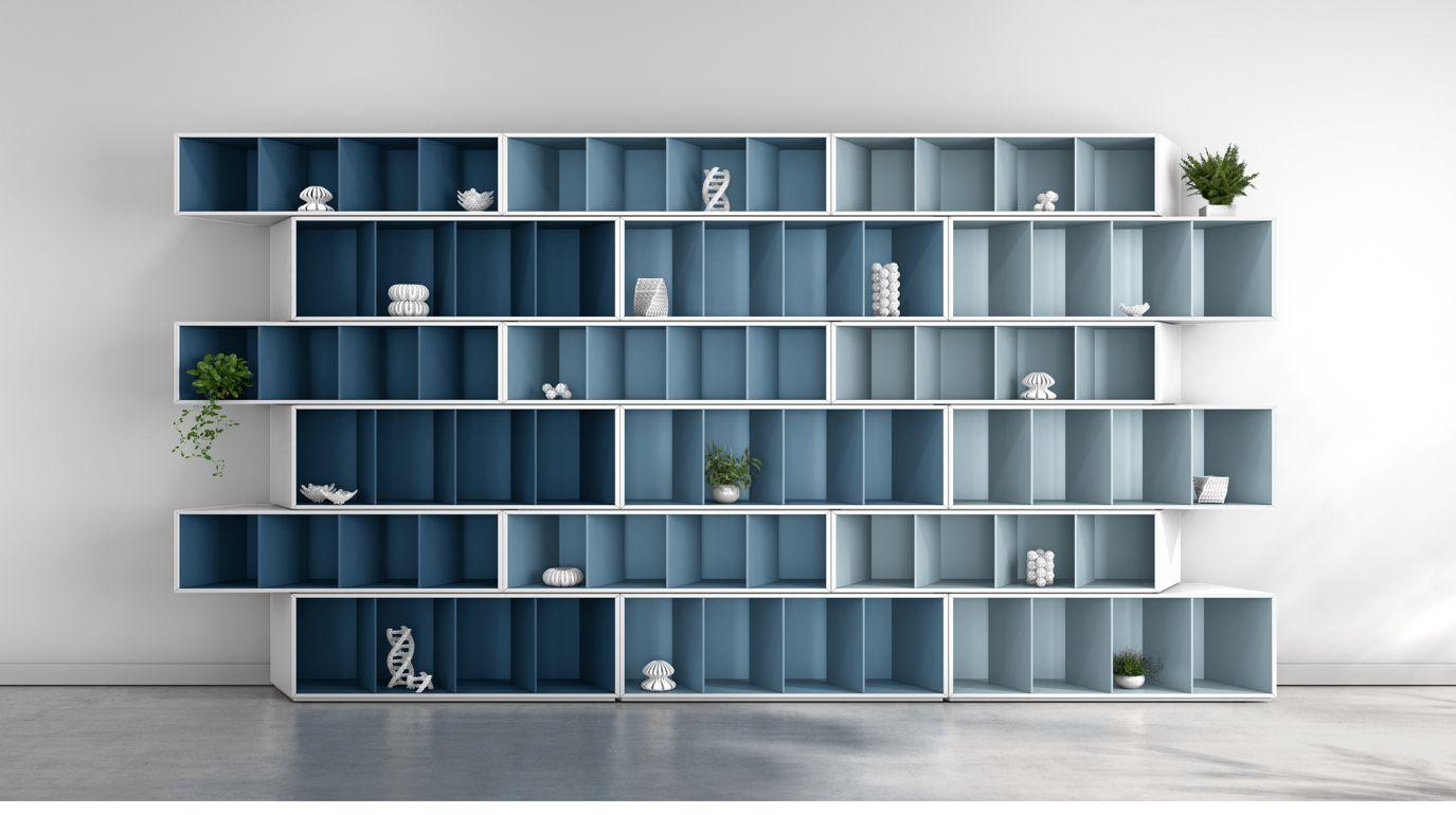 trinta biblioth que harmonie bleue roche bobois. Black Bedroom Furniture Sets. Home Design Ideas