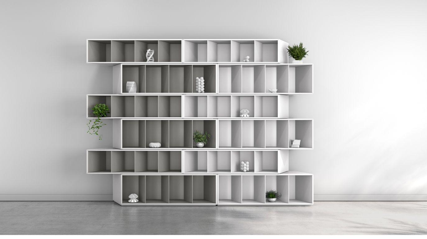 trinta biblioteca armon a gris roche bobois. Black Bedroom Furniture Sets. Home Design Ideas