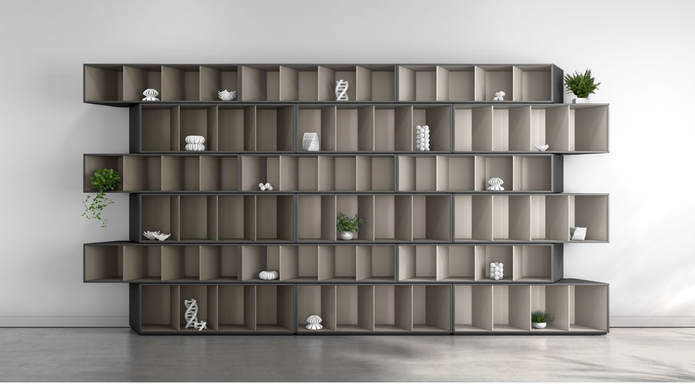 trinta bibliothek taupe harmonie roche bobois. Black Bedroom Furniture Sets. Home Design Ideas